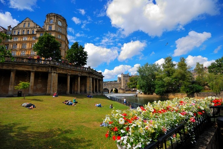 england: People relaxing in the park of Bath town, Bath, England