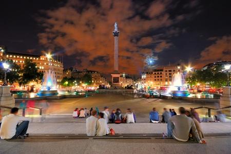 Trafalgar square night time in London Stock Photo
