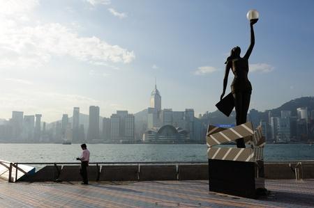 sea star: City scene from avenue of stars, Hongkong Stock Photo