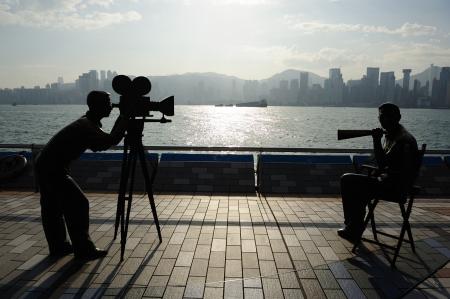 camara de cine: Avenida de la estrella y la ciudad, Hong kong