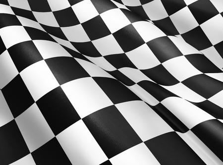 cuadros blanco y negro: Ondeando la bandera a cuadros - 3D render