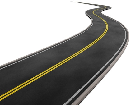 curved road: curved road in white background