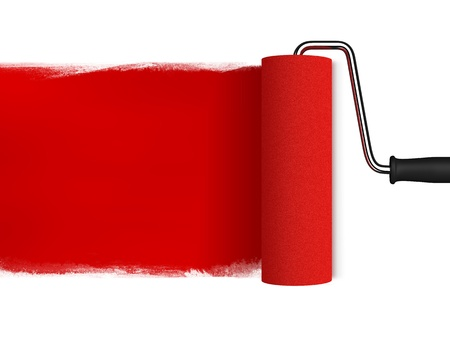 rennovation: roll painting red color in white background Stock Photo