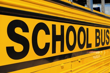 saturated color: school bus sign detail