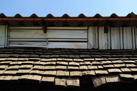 old style roof in the summer time photo