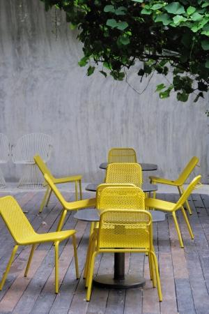 yellow steel chair photo
