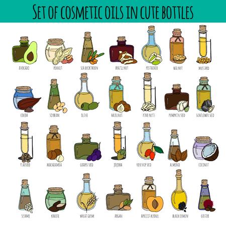 Set hand getrokken flessen met verschillende cosmetische oliën. Geïsoleerd op wit. Ideaal voor lichaamsverzorging, gezond leven, ontspanning concept design. Vector Illustratie