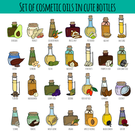 Set of hand drawn bottles with different cosmetic oils. Isolated on white. Great for body care, healthy life, relax concept design. Illustration