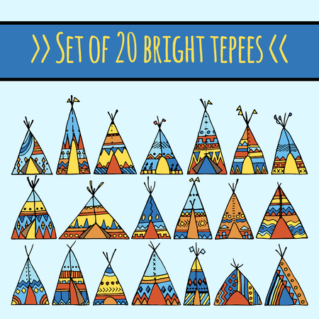 set of hand drawn vector tepee illustration. wigwam with tribal colorful ornaments. american indian home in boho style. good for greatings and invitation card or wedding invitation. great for ethnic boho design. Illustration