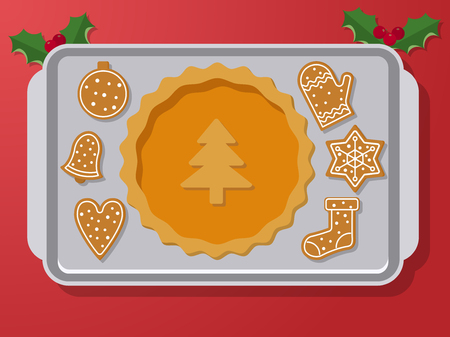 christmas cookie: Set of vector icons of Christmas ginger bread cookies on oven-tray. Gingerbread men and star, bell and other holiday symbols, baked by hand. Festive baking for winter holidays