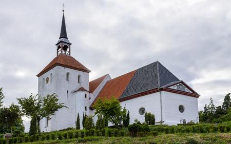 Nordborg Church with tower and Garden. In Sonderborg, Island Als, South Denmark. Stock fotó