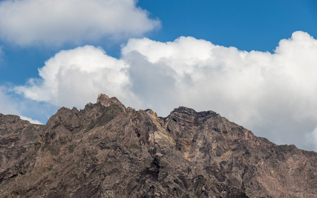 Detail View on Crater of erupted Vulcan Sakurajima. Taken from the Yunohiro View Place (Lookout). Located in Kagoshima, Kyushu, South of Japan.