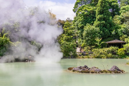 Panorama of famous geothermal hot springs, called Shiraike Jigoku, engl. white pond hell, in Beppu, Oita Prefecture, Japan, Asia.