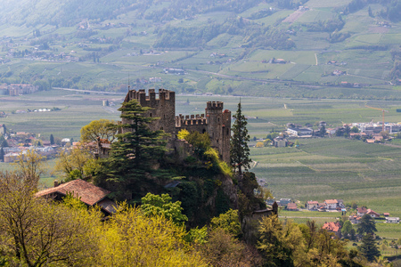 Detail view on Castle Brunnenburg in beautiful landscape. Tirol Village, Province Bolzano, South Tyrol, Italy.