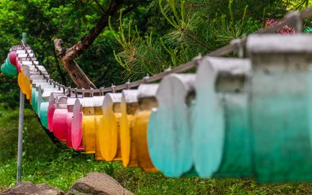 Different beautiful and colorful paper lanterns. The festival is a celebration the birth of Buddha in South Korea.