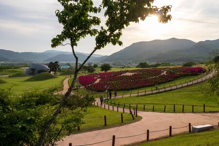 Panorama of the Royal Tomb of King Gyeongdeok. Tumulus hill complex in beautiful landscape. Geumseong-myeon, Uiseong County, South Korea, Asia.