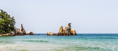 Panorama of Candlestick Rock, korean Chotdaebawi with clips and coastline. Donghae, Gangwon Province, South Korea, Asia.