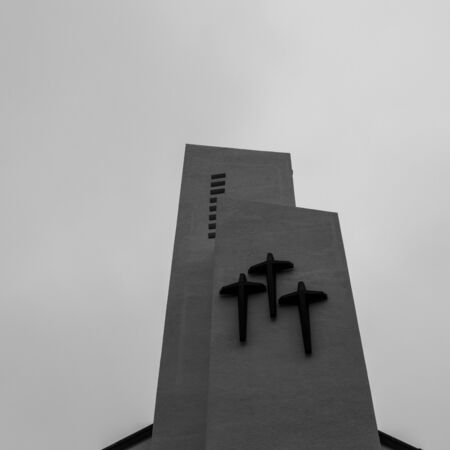 View on Top of the roof of Jungang Catholic Cathedral. Jung-gu, Busan, South Korea. Asia.