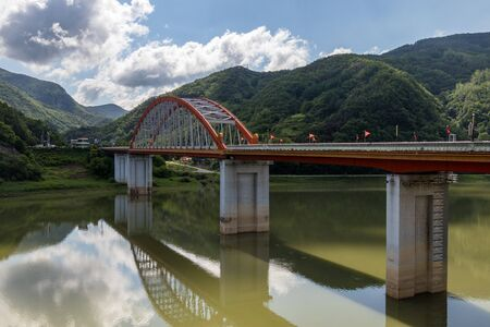 Panorama of large Danyang Bow Bridge. Danyang, North Chungcheong, South Korea, Asia.