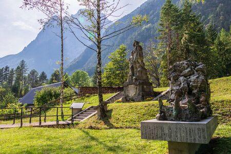 Main Monuments of fallen Soldier Graveyard during Isonzo Front, ger. Soldatenfriedhof des Ersten Weltkriegs in Log pod Mangartom, Bovec, Slovenia.