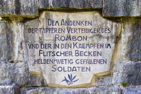 Central Sign Inscription on Main Monument of Soldier Graveyard, ger. Soldatenfriedhof des Ersten Weltkriegs in Log pod Mangartom, Bovec, Slovenia