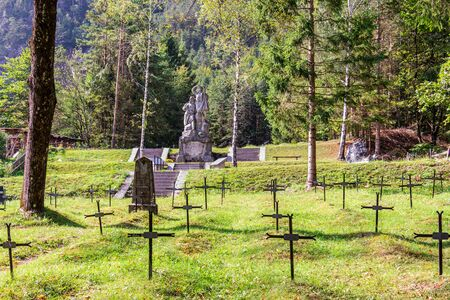 Graveyard of Fallen Soldier and Monument of Isonzo Front, ger. Soldatenfriedhof des Ersten Weltkriegs in Log pod Mangartom, Bovec, Slovenia. Europe. Stock fotó