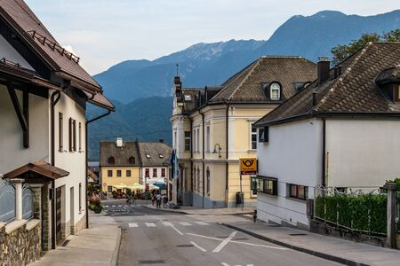 Street Scenario of Center and Administration building of Municipality of Bovec, Flitsch, Slovenia, Europe.