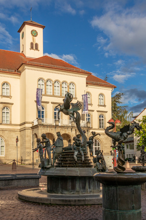 Sindelfingen, Baden Wurttemberg/Germany - May 11, 2019: Panorama of City Gallery building, Stadtgalerie and market fountain in foreground. Editorial