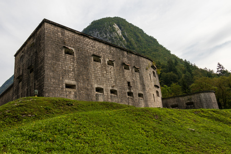 Panorama of Fortress Wall, Fort Kluze, german: Flitscher Klause. Fortification for World War during Isonzo Front. Bovec, Gorizia, Slovenia.