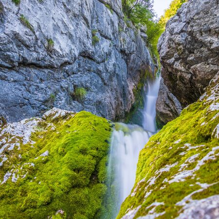 Waterfall of Soca River near the Source of So�a. First Kilometer after main Pond Cave in Julian Alps. Bovec, Gorizia, Slovenia, Europe. Stockfoto