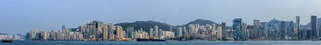 Huge Cityscape Panorama with Victoria Bay, Port, Transportation Ships and Hongkong Island in the background. Hong Kong, China, Asia
