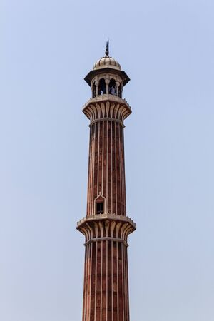 Detail view on Minaret of Masjid e Jahan Numa, commonly known as Jama Masjid, largest Mosque Old Delhi, India, Asia.
