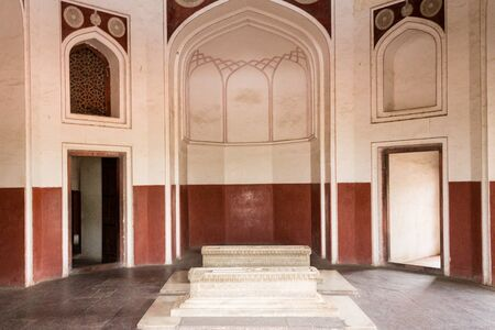 View on two Cenotaphs in a side room inside main Building of Humayun's Tomb Complex. Delhi, India, Asia.