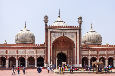 Central View on Entrance of Masjid e Jahan Numa, commonly known as Jama Masjid, largest Mosque Old Delhi, India, Asia.