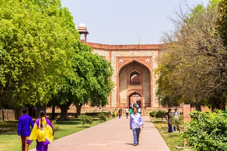 Panoramic view on West Entrance Portal, Gateway to Humayuns Tomb and Square. Delhi, India. Asia.