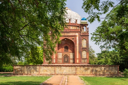 View on Barbers Tomb, side Building of Humayun Tomb Complex. UNESCO World Heritage in Delhi, India. Asia.