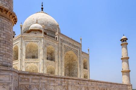 Close view on Taj Mahal with Minaret. UNESCO World Heritage in Agra, Uttar Pradesh, India