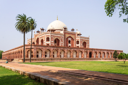 Beautiful Panorama of Humayuns Tomb Complex with square, park and vegetation. UNESCO World Heritage in Delhi, India. Asia.