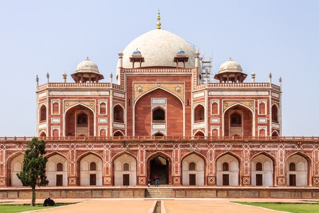 Main Building of Humayuns Tomb Complex with square, park and vegetation. UNESCO World Heritage in Delhi, India. Asia.