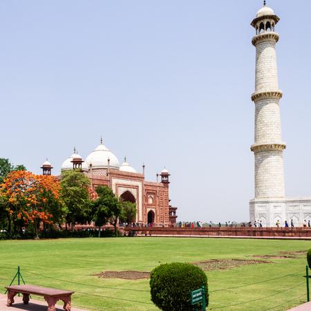 Minaret of Taj Mahal and western Mosque. UNESCO World Heritage in Agra, Uttar Pradesh, India