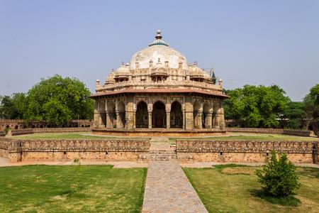Large Panorama of Tomb of Isa Khan near Mausoleum of Humayun Complex. UNESCO World Heritage in Delhi, India. Asia. Редакционное