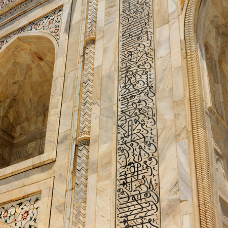Details of Taj Mahal: Close-up of Painting, Motifs and inscription on the wall. UNESCO World Heritage in Agra, India.