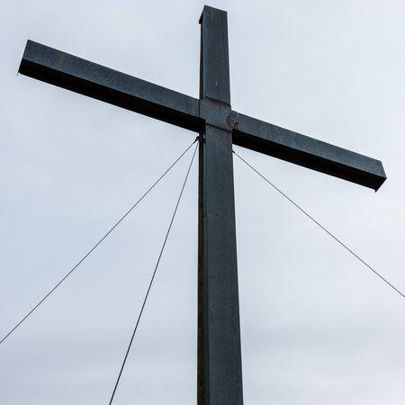 Detail view on Summit Cross of Heldenkreuz, 963m in Bavarian Prealps, Ostalpen, near Eschenlohe, Upper Bavaria, Germany