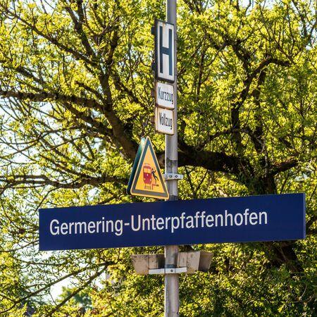 Municipal Germering, District Fuerstenfeldbruck, Upper Bavaria, Germany: Sign of S-Bahnhof Germering-Unterpfaffenhofen