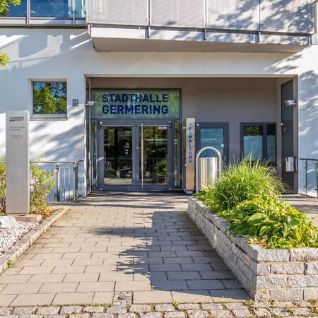 Municipal Germering, District Fuerstenfeldbruck, Upper Bavaria, Germany: Back Entrance to Main Building of Civic City Hall (Stadthalle)