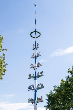 Municipal Germering, District Furstenfeldbruck, Upper Bavaria, Germany: Details of Maypole, Maypole in Unterpfaffenhofen