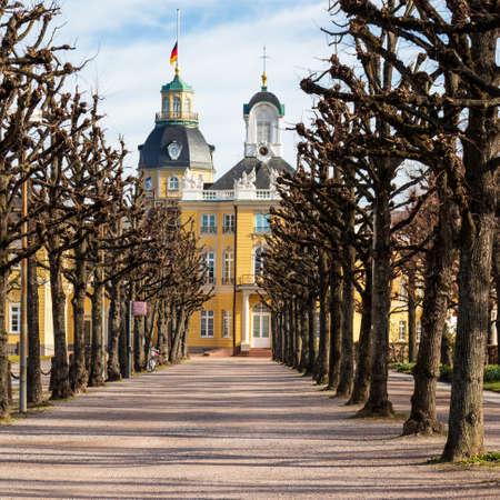 Alley avenue in Wintertime to Castle Karlsruhe and side buildings. In Karlsruhe, Baden-Württemberg, Germany