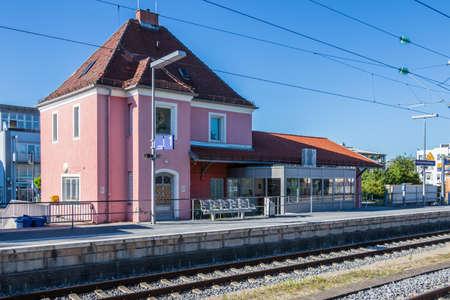 Municipal Germering, District Fuerstenfeldbruck, Upper Bavaria, Germany: Building of S-Bahnof Germering, Line S8