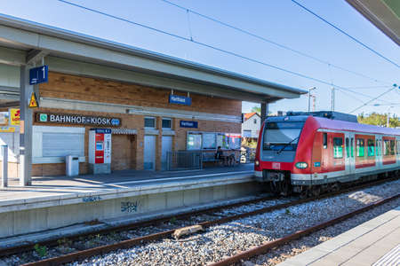 Municipal Germering, District Fuerstenfeldbruck, Upper Bavaria, Germany: Train Station, S-Bahnhof Harthaus of S-Train Line S8