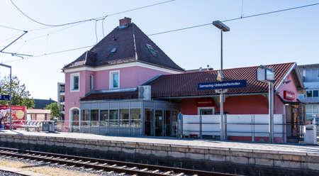 Municipal Germering, District Fuerstenfeldbruck, Upper Bavaria, Germany: Building of Train Station Germering-Unterpfaffenhofen Éditoriale